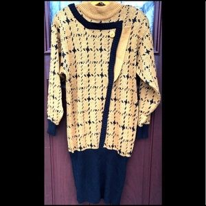80's Vtg Sweater Dress Asymmetric Gold Houndstooth